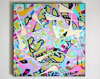ORIGINAL surrealism abstract street art urban breast pop art contemporary painting