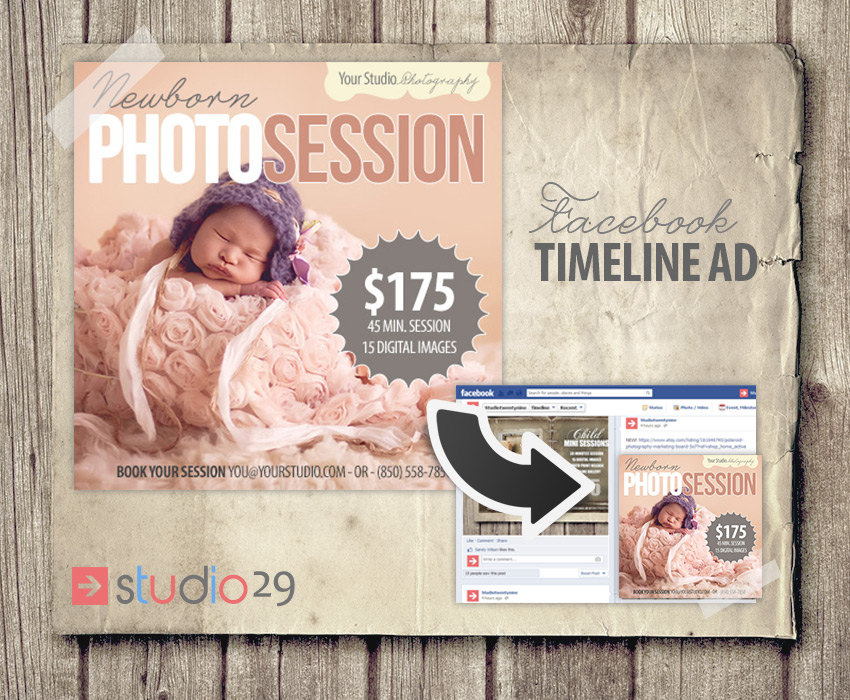 Facebook Ad For Photographers Newborn Photos Facebook News - Photography ad template