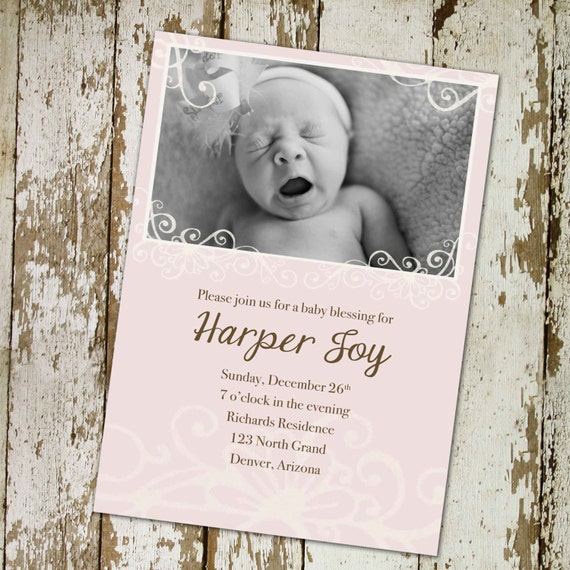 LDS baby name and blessing invitation christening mormon baptism pink brown welcome baby diaper and wipe brunch birth 434 Katiedid Designs