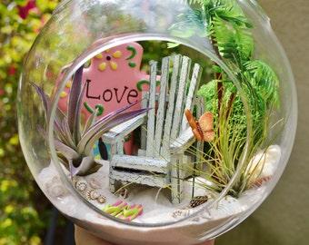"""Beach Terrarium Kit ~ 7"""" Air Plant Terrarium Kit ~ Coastal Living Beach Decor ~ Beach Chair ~ Palm Tree ~ FlipFlops ~ Butterfly ~ Gift Idea"""