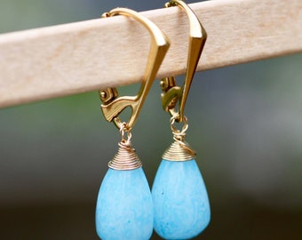 Natural Blue Agate Earrings 14K Gold Vermeil , Healing Gem , Wire Wrapped , From Canada , Pregnancy Protection