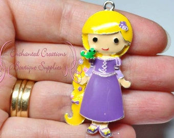 "2"" Rapunzel With Pasqual Inspired Charm, Tangled Inspired, Chunky Pendant, Keychain, Bookmark, Zipper Pull, Chunky Jewelry, Purse Charm"