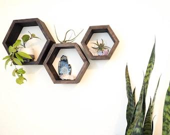 Floating Shelves, Hexagon Shelves, Geometric Shelves, Modern Shelves, Wooden Shelves, Mid-Century Modern,  Honeycomb Shelves