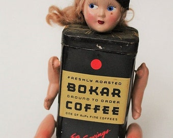 Assemblage Coffee tin doll-Bokar Cofee Tin-Vintage Handmade upcycled doll-Graduation doll-Kitchen decor-Unique gift-Weird decor-Upcycled art
