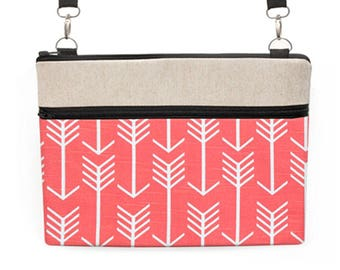 "Laptop Shoulder Bag, Tribal MacBook Pro 15"" Totes, iPad Pro 10.5"" Crossbody, Southwestern Macbook 12"" Tote Bag - coral red and white arrows"