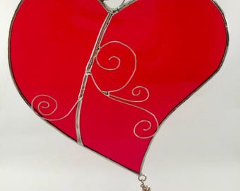 Stained Glass Heart Suncatcher - Stained Glass Suncatcher - Stained Glass Heart - Heart - Valentine's Day - Valentine's Day - Glass Heart