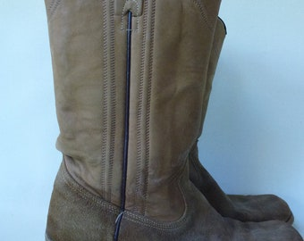 Vintage Texas Cowboy Boots Square Toe Tan Suede and Leather Campus Boot Style