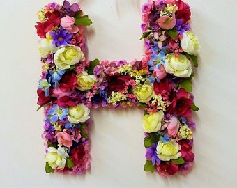 Decorative letter h etsy initial wooden letter h floral decor initial wall hanging door decor initial decorative letter pink and altavistaventures Choice Image