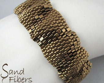 Small Bronze Ripples Peyote Bracelet (3301)