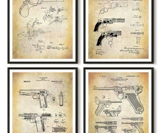 Vintage Handgun Patent Art Print - Colt Patent Print - Smith and Wesson Patent Print - Browning Patent Print - Luger Patent Print - Patent