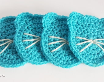 Set of 4 Blue Crochet Cat Coasters