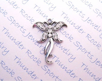 BUTTERFLY CHARM, Antique Silver, clear crystals, PENDANTS, bugs, insects, butterflies