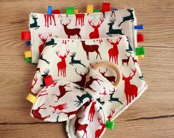 Reindeer Christmas baby gift, Christmas baby outfit, Baby teether, Christmas drool bib, Taggie blanket, Woodland baby gift, Baby reindeer