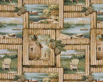 Cabin Scene With Fishing Boat, Chair And Acorns, Themed Tapestry Upholstery Fabric By The Yard| Pattern #A002