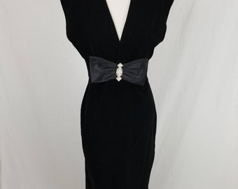 Vtg 80s Climax Karen Okada for David Howard Black Velvet Bow Rhinestone Dress