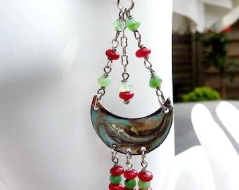 Dangling silver enameled beads semi precious earrings.