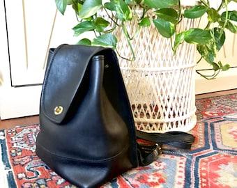 Vintage Coach Leather Backpack / Coach Black Leather Daypack  / Boho Bag