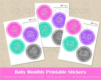 Baby month printable stickers, colors chalkboard for girl. Instant download. PDF file. Baby monthly milestone digital. Baby month stickers