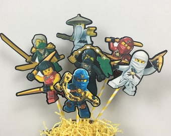 NINJAGO Birthday Set of 6 Centerpiece Picks (Double-Sided) Cake Toppers / Birthday Party / Decorations / Supplies / Decor