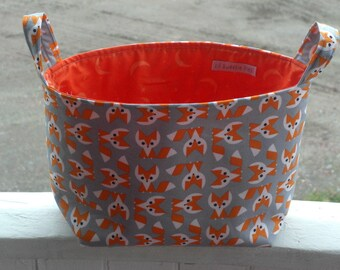 Fox fabric bin, Fox Diaper Caddy, Fabric organizer, Fabric Bin, Fabric Basket,storage basket, baby shower gift