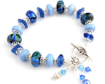 Blue Lampwork and Sterling Silver Beaded Lampwork Bracelet,Fashion Jewelry, Gifts, Career Wear, Charm Bracelet, Valentine Day, Mother's Day
