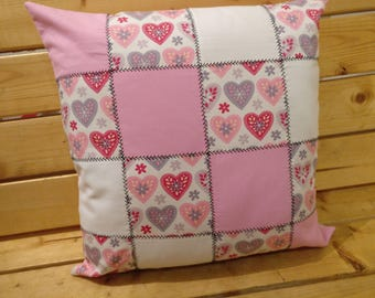 Heart, patchwork, white & pink cushion, throw, pillow, valentine, gift