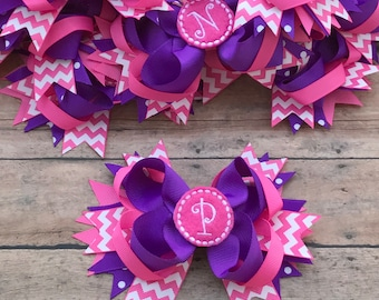 Initial Bow - Personalized Bow - Personalized Baby - Monogram Hair Bow - Monogram Bow -  Monogram Hairbow - Monogram Baby Girl - Single Bow