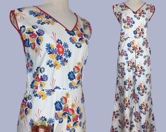 Vintage 1930s Beach pajamas / 1920s Beach Pyjamas / 20s Overalls / 30s Culottes / Jumpsuit / Playsuit / Romper Jumper / palazzo pants