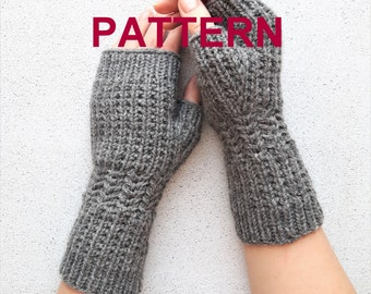 Knitting pattern, fingerless gloves knit pattern, knit mitts pattern, diy knit pattern, arm warmers hand warmers pattern, PDF knit pattern