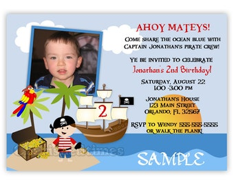 Boy, or Boy Twins Pirate Birthday Party Invitation (Digital File)