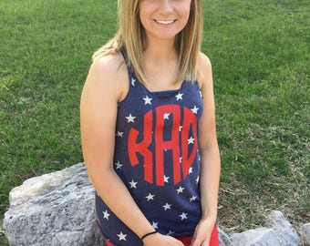 Monogram Stars Tank Top, Stars Tank Top, 4th of July Tank Top, Memorial Day Tank Top, Patriotic Tank Top, Monogram Patriotic Tank Top