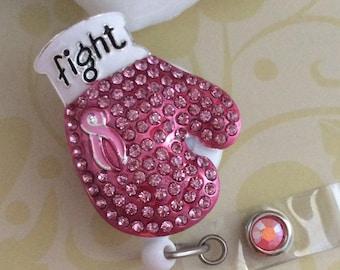 Rhinestone Fight Cancer Awareness Retractable ID Badge Reel, Nurse Badge Holder, Heavy Duty Badge Reel