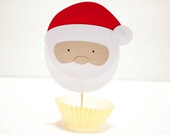 Adorable Santa Face Food Topper (Set of 12)