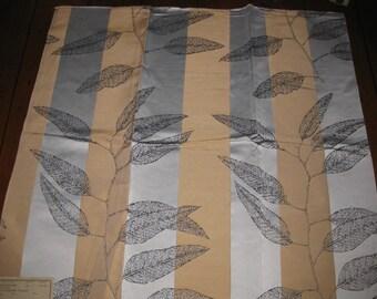 Camel Silver Striped Leaf Botanical Print Designer Fabric Sample