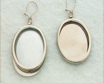 Silver Tone Oval Earring Settings, Earring Frames, Embroidery Earring Mounts, Make Embroidered Earrings, Mountings 115ST
