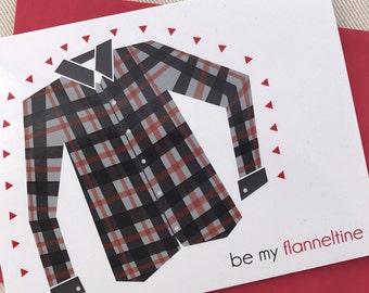 Valentines Day Card - Be My Flanneltine Valentine Card for him - Flannel Valentine for boyfriend or husband