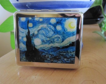 Starry Night  8 Day Pill Box With Mirror