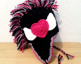 Girls Punk Rock Mohawk Hat, Black Crochet Earflap Hat with Pink Heart, Crochet Hat for Toddlers to Women