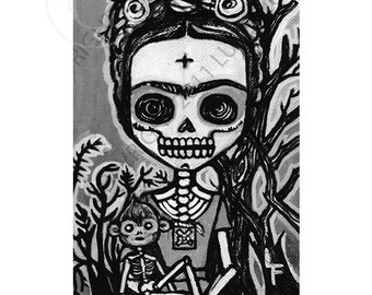 Frida Kahlo with Monkey Day of the Dead 5x7 art print by Lupe Flores