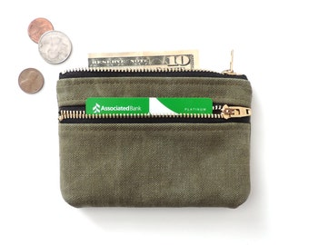 Recycled Canvas Wallet Double Zipper Pouch WWII Military Canvas
