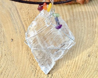 Selenite Rainbow Gemstone Art Pendant with Sterling Silver and Leather Necklace