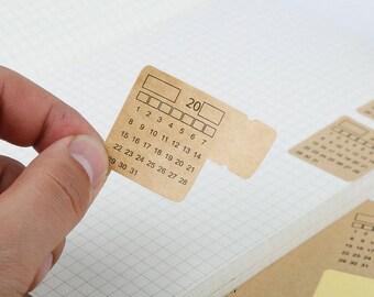 Calendar sticker, calendar Index sticker, kraft stickers, Index stickers, planner stickers, bookmark, Index Tabs, cute , kawaii, monthly