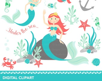 Mermaid - Seahorse - Under the Sea Clipart - 300 dpi - JPEG and PNG format - instant download - great for invitations, cards, scrapbooking