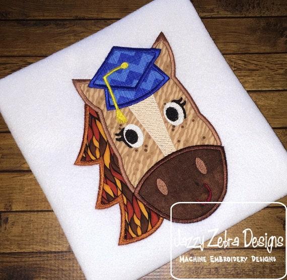 Horse Graduate Girl Appliqué embroidery Design - horse appliqué design - graduation appliqué design - mascot appliqué design