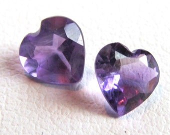 Matched Pair 5mm Purple Amethyst Heart Shaped Loose Gemstones