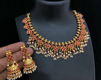 Ruby pearl necklace set