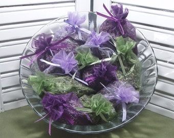 "Party favors, lavender sachets, dried lavender, 12 organza bag sachets, wedding favors, bridal shower, baby shower, 3"" by 4"" size oganza bag"