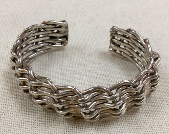 Vintage 925  Solid  Sterling Silver Braided Cuff  Bracelet!!!! Free US Shipping!!!