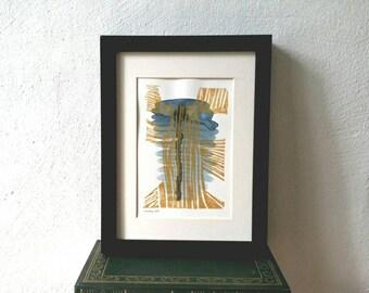 Abstrakte Linoldruck, Aquarell, goldenen Linien, Druckkunst, Linoldruck Collage, Mischtechnik, original Handdruck, Wand-Dekor