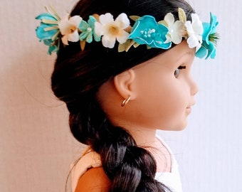 Aqua blue wildflower crown. Flower crown sized to fit an 18 inch doll.